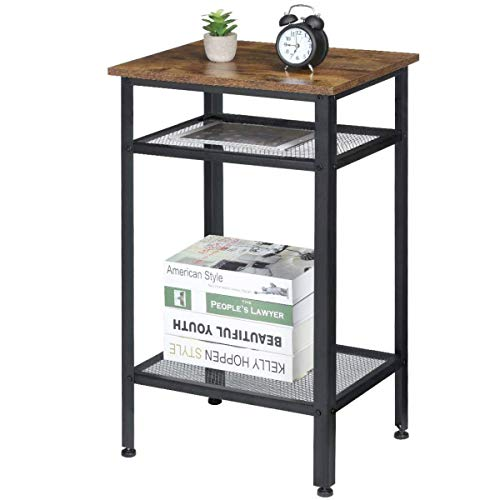 KingSo Industrial Side Table, End Telephone Table with 2-Tier Mesh Shelves for Office Hallway or Living Room, Wood Look Accent Furniture with Metal Frame, Tall and Narrow, Easy Assembly, Rustic Brown