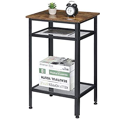 Amazon - Save 20%: KingSo Industrial Side Table, End Telephone Table with 2-Tier Mesh Shelves…