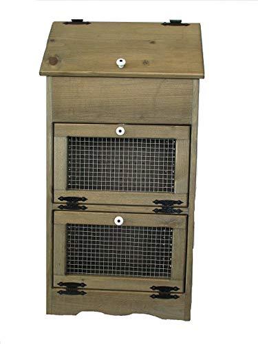Bread Veggie Bin with Wire Doors (Rustic Walnut Stain)