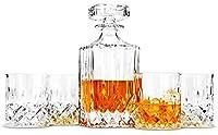 lanfula 5 pezzi bottiglia e bicchieri whisky cristallo, 750 ml decanter con 4 x 300 ml bicchieri whiskey, perfetto per gli amanti del whisky