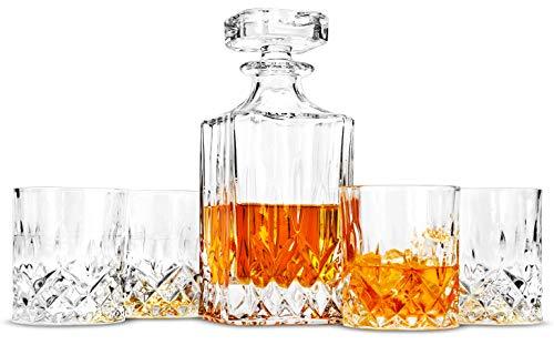 LANFULA Whisky Karaffe und Gläsern Set, 750 ml Dekanter mit 4 Bleifrei Kristall Gläser 300 ml. 5-teiliges, Geschenk für Whiskey Liebhaber