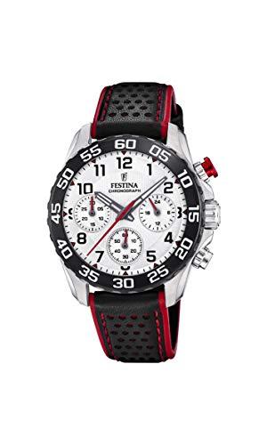 Festina Jungen Chronograph Quarz Uhr mit Leder Armband F20458/1