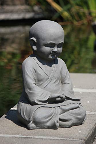 Figur Shaolin Mönch Meditationsgeste – für Haus und Garten – Höhe 42 cm – grau - 2