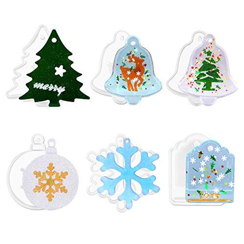 Cheeroyal, stampi in resina di Natale, fai da te, per creare gioielli in resina epossidica, per albero di Natale, fiocchi di neve, alce e alce