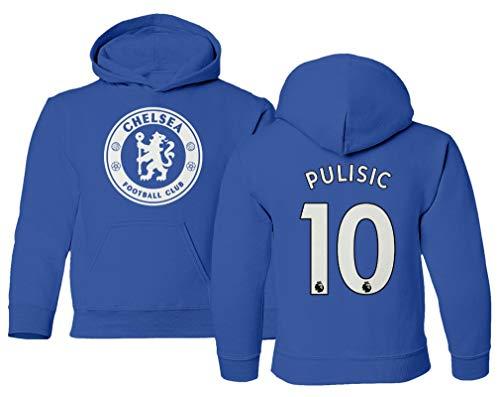 Spark Apparel London Blue #10 PULISIC Soccer Jersey Style Boys Girls Youth Hooded Sweatshirt (Royal, Youth - Medium)