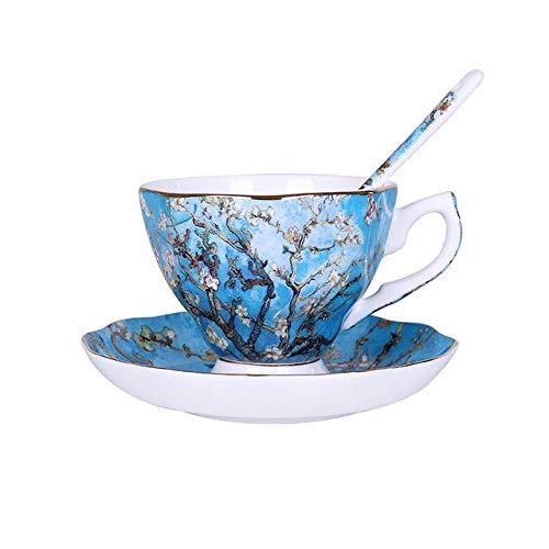 The New Van Gogh Art Painting Tazas de café The Starry Night Girasoles The Sower Irises Saint-Remy Tazas de té de café-D 3pcs-1set