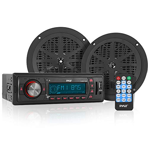 Marine Headunit Receiver Speaker Kit - In-Dash LCD Digital Stereo w/ AM FM Radio System 5.25?? Waterproof Cone Speakers (2) MP3/USB/SD Readers Aux Input Single DIN & Remote Control - Pyle PLMRKT12BK,Black