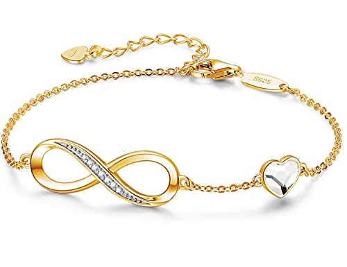 Beforya Paris – Pulsera para mujer con corazón chapado en oro – Plata 925 – Hermosa brillante pulsera con corazón de cristal – Regalo para San Valentín, cumpleaños, día de la madre