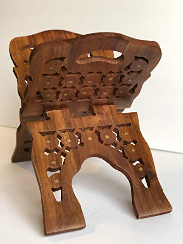 """YOUNI - Wooden Quran Folding Stand/Rahel/Holder Book. حامل قرآن خشبي (Large 8"""" Height X 16"""" Wide)"""
