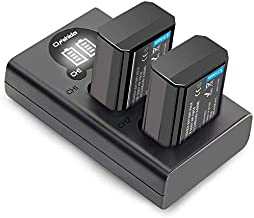 NP-FW50 Onshida Camera Battery Charger Set for Sony A6500 A6300 A6000 A5100 A7II A7RII A7SII A7S A7S2 A7R A7R2 A3000 A33 A35 A37 A55 RX10, 2-Pack 1200mAh Battery, Type-C & Micro USB Camera Charger