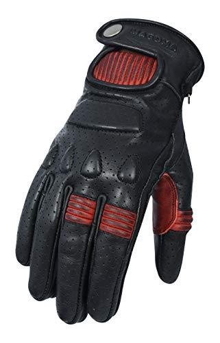 MAGOMA Guantes de cueropara moto Soho A ++ con protecciones,Negro/Rojo,XS