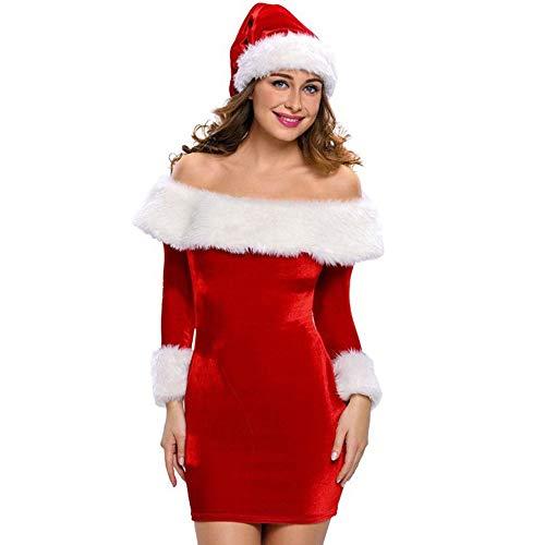 Navidad de BaZhaHei, Mujeres de Navidad Fuera del Hombro Mini Vestidos de Manga Larga Vestido Ajustado de Papá Noel del Vestido de Manga Larga sin Tirantes de Navidad para Mujer Multicolor Falda