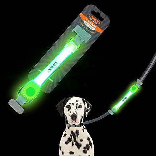 LaRoo Sicherheits LED Leuchtband für Hunde Katzen,LED Licht Blinklicht mit Klettverschluss, Einfach an Halsband Leine und Geschirr zu Befestigen, Wasserdicht Leuchtend Outdoor-Sportarten