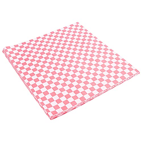 Yantan 100 PCS checkered deli candy basket liner Food Wrap Papers, Fat Repellent, Sandwich Burger Packing, Red and White