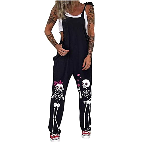 Pantalones Punk para Mujer Color sólido Mono Estampado Pantalones Piratas Monos Mujer Verano Largos Casual Esqueleto Oscuro Pluma Pantalones Bombachos Negro