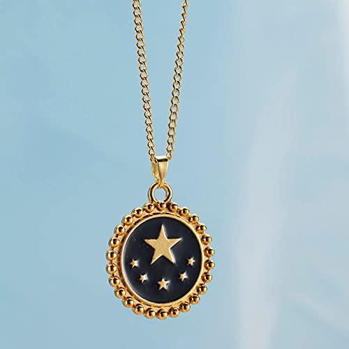 Vibner Collar Collar De Moneda De Oro con Patrón De Estrella De Esmalte Rojo Blanco Negro para Mujer, Collares con Colgante De Corazón para Mujer, Accesorios De Joyería, Blackstar