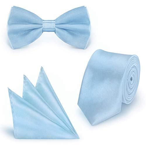 StickandShine SET Krawatte Fliege Einstecktuch Hellblau einfarbig uni aus Polyester