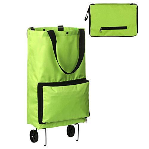 ChuW Bolsa portátil com rodas de alta capacidade, bolsa dobrável para supermercado, bolsa de compras com rodinhas