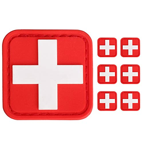 LIVANS Medic Red Cross Patch, First Aid Morable Patch Perfect for Tactical IFAK, EMT Trauma Pouch 1.5-Inch 3D High Relief Patch Nurse Doctor Emergency Logo PVC Rubber Bundle 6 Pieces