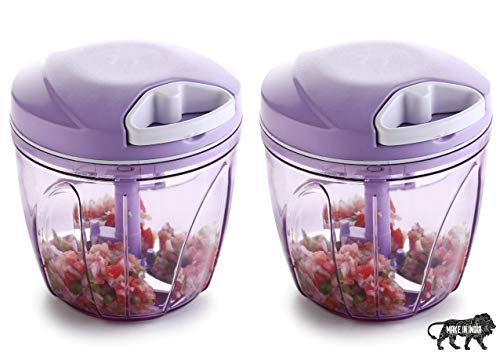 Primelife XL 2 Pcs Jumbo Handy Chopper, Vegetable Fruit Nut Onion Chopper, Hand Meat Grinder Mixer Food Processor Slicer Shredder Salad Maker - Made in India (900ml - Purple)(Combo - Set of 2)