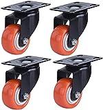4 pz Rotelle mobili rotelle industriali 1.5 Pollici Gomma Gomma Ruote con Freno Universale a 360 ° Girevole mobili mobili Talley rotelle Resistenti per Sedia da tavola