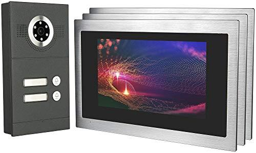 GVS IP Video Door Intercom, Surface-Mounted Door Station IP65, 3x 10 Inch Monitor, Mobile Phone App, HD Camera 115°, Door Opener Fact, 32GB Photo/Video Memory, PoE Switch, 2 Family House Set, AVS3098A