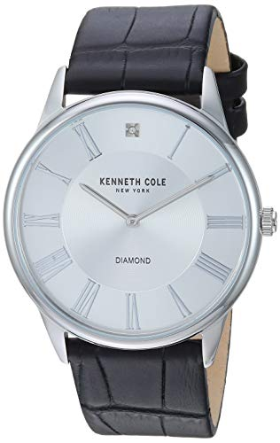 Kenneth Cole New York Men's Diamond Stainless Steel Japanese-Quartz Watch with Leather Strap, Black, 21 (Model: KC50916001)