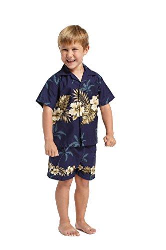 Hecho en Hawaii Luau Aloha Camisa y Pantalones Cortos Chico Juego de Cabana Golden Hibiscus Cross en la Marina4