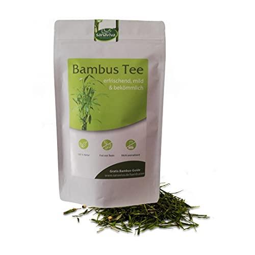 Bambustee 75g loser Kräutertee ohne Teein und Koffein von sanaviva, ein Grün - Tee frei von künstlichen Zusatzstoffen