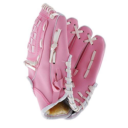 MagiDeal Linkshänder Softballhandschuh Leder Verschleißfester Jugend Baseballhandschuh - Rosa, 9,5 Zoll