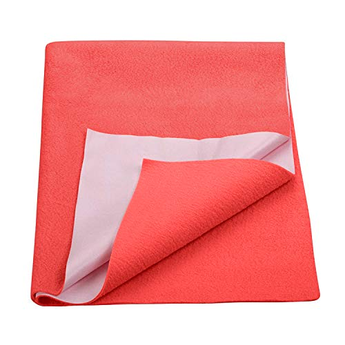 Trance Home Linen Baby Dry Sheets/100% Waterproof/Soft/Mattress Protector/Breathable/Underpad -Coral (Medium)