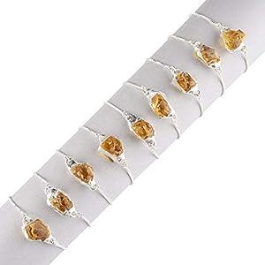 Raw Citrine Electroforming Bracelet in Sterling Silver Slider Chain 8 inch Fully Adjustable, November Birthstone