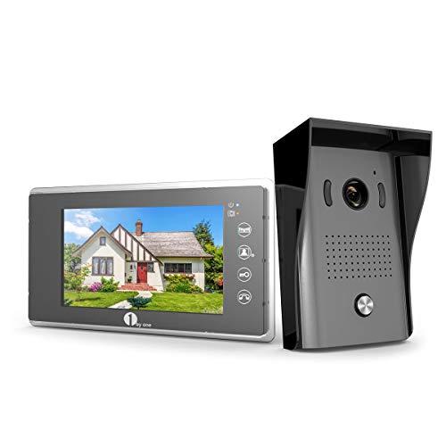 1Byone Visiophone Couleurs - 1 x Moniteur Ecran Vidéo 7-Pouce et caméra HD avec 125 cm de Câbles, 1 x Sonnette d'Extérieure 120° Angle Visuelle Vision Nocture...