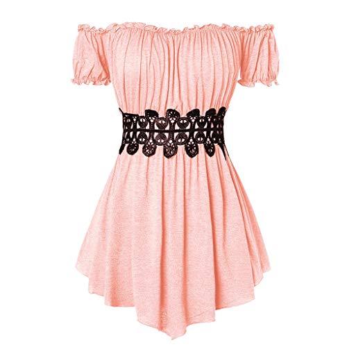 Zegeey Damen T-Shirt Kurzarm Schulterfrei Plissee UnregelmäßIger LäSsige Einfarbig Sommer Top Bluse Oberteil Shirts Pullover(Rosa,36 DE/S CN)