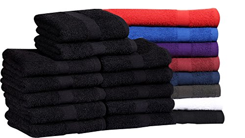 MAGTEX Cotton Salon Towels (24-Pack, Black,16x27 inches) - Soft Absorbent Quick Dry Gym-Salon-Spa...