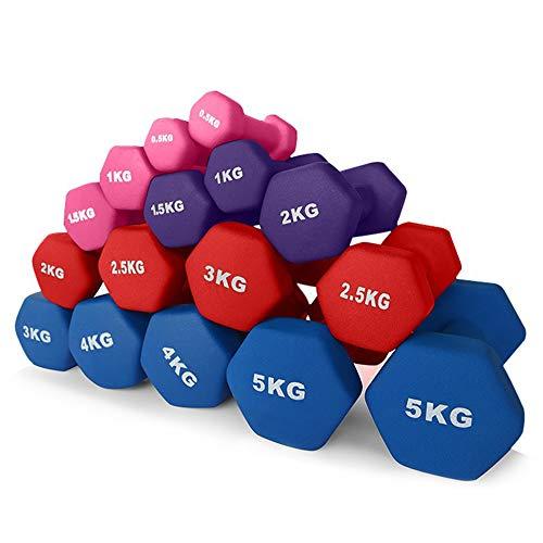 AKT Neopren Hex Hanteln (1 Paar) Set - 0.5 kg - 5 kg Kurzhanteln Trainieren Aerobic Yoga Krafttraining Walking Dance Fitness und Rehabilitation,2x0.5kg