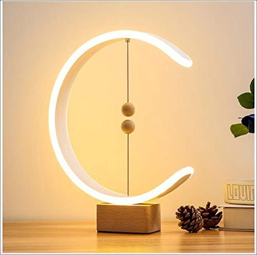 Heng Balance Lamp, USB Powered Modern Houten LED Tafellamp Met Magnetic Zwevende Ballen Switch, Slaapkamer Woonkamer Office Decoration Night Lamp
