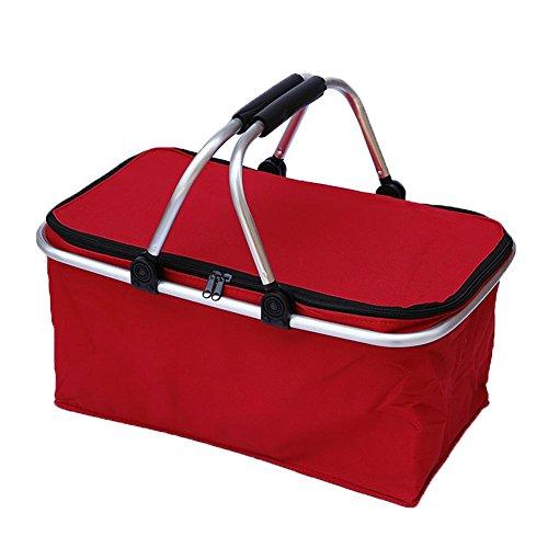Webri 21L isolierte Kühltaschen für das Mittagessen, Picknick-Kühltasche Auslaufsichere, wasserfeste, faltbare, weiche Kühltasche, wasserdicht, Thermotasche für Arbeit, Schule, Picknick, Camping (rot)