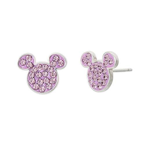 Disney Mickey Mouse Sterling Silver Crystal June Birthstone Stud Earrings