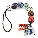 Topretty 7 Chakra Crystals Healing Stones Decor, Reiki Gemstones Handmade Car Hanging Ornaments Rearview Mirror Accessories, FengShui Home Decor Tumbled Tassel for Good Luck Yoga Meditation Christmas