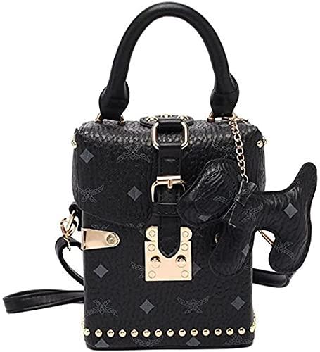 LEOCEE Vintage Stone Pattern Box Style Monederos y bolsos de cuero para mujer Bolso bandolera para mujer Bolso de hombro femenino Totes Bag-Black_Style2