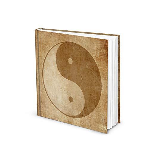 Logbuch-Verlag Yin y Yang Cuaderno cuadrado 21 x 21 cm – Símbolo libro marrón beige vintage – Diario de meditación regalo Navidad cumpleaños
