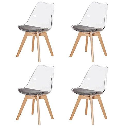 DORAFAIR Pack de 4 Sillas de Comedor Silla escandinava con Las Piernas de Madera de Haya Más Fuerte y Asiento Tapizado, sillas de Estilo nórdico, Gris Transparente