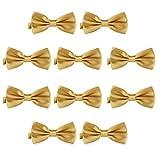 DonDon Set de 10 Pajarita para hombre de 12 x 6 cm ajustable y lista para usar - Oro