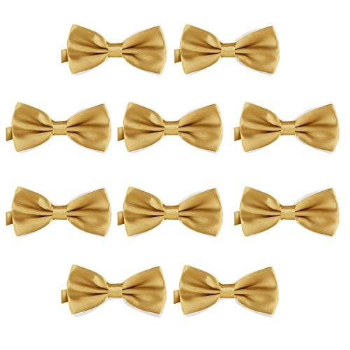 DonDon Lot de 10 Noeud papillon pour homme 12 x 6 cm avec crochet déjà lié et réglable, Or, Taille unique