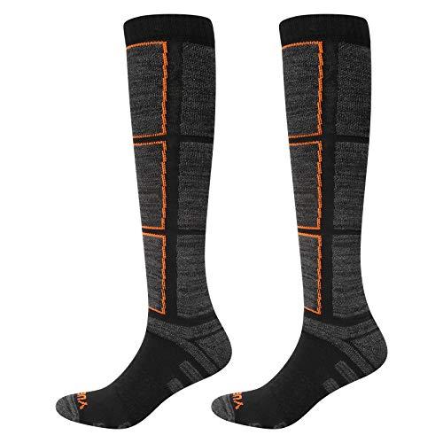 YUEDGE Calcetines de esquí para hombre, calcetines deportivos de invierno gruesos largos hasta la rodilla para esquiar snowboard 2 pares