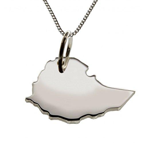 50cm Halskette + Äthiopien Anhänger in massiv 925 Silber