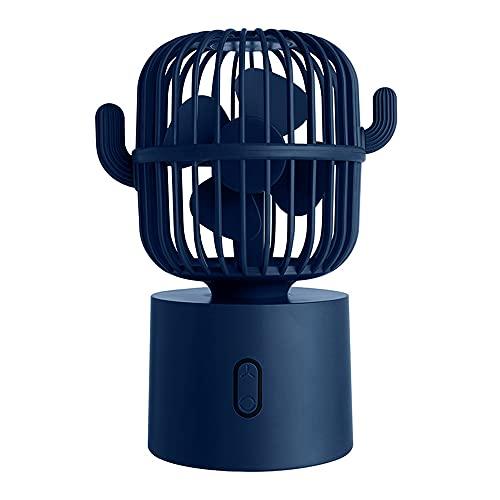 Ventilador Eléctrico Multifunción USB, Cactus Sacudiendo La Cabeza, Pequeña Ventiladora Eléctrica Portátil para La Oficina En Casa En La Montaña Phoenix, Adecuada para La Familia,Azul
