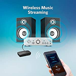 Bluetooth Receiver for Music Streaming with Bluetooth 5.0, 12-Hour Battery Life, Handsfree Calls, Dual Device Connection, for Car, Home Stereo, Headphones, Speakers