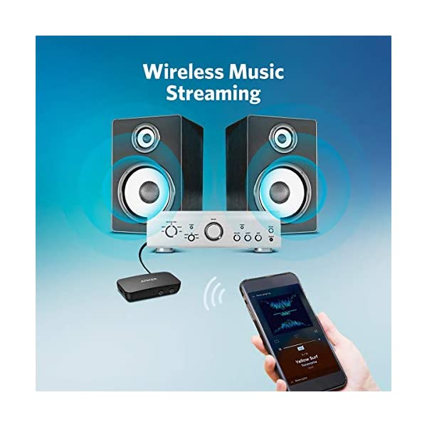 Bluetooth Receiver for Music Streaming with Bluetooth 5.0, 12-Hour Battery Life, Handsfree Calls, Dual Device Connection, for Car, Home Stereo, Headphones, Speakers 4